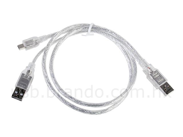 Dual USB A Male to Mini-B 5 Pin Cable