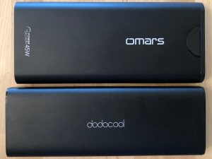 Top: Omars PowerSurge 20000 45W USB-C PD. Bottom: dodocool 20100 45W Type-C PD.