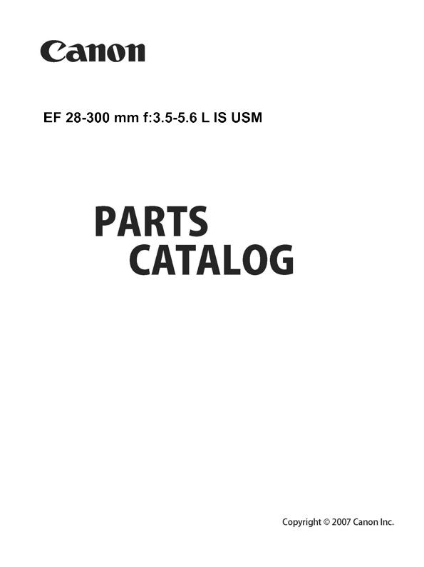 Canon EF 28-300 3.5-5.6 L IS USM Parts List Download