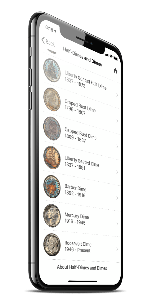PCGS CoinFacts Dimes Listing