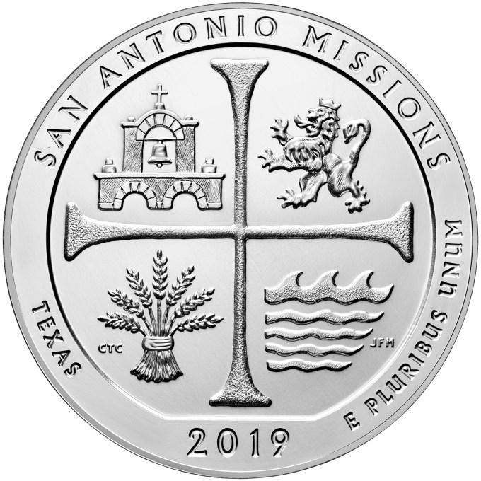 2019-P San Antonio Missions Five Ouce Reverse
