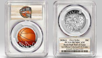 Example of Basketball HOF half-dollar in PCGS holder
