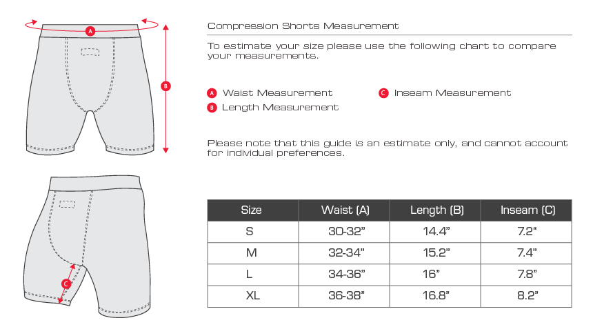 sizing chart for compression shorts