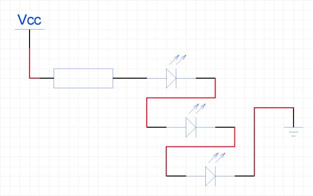 Последовательное подключение трёх светодиодов