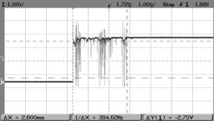 Дребезг контактов на экране осциллографа