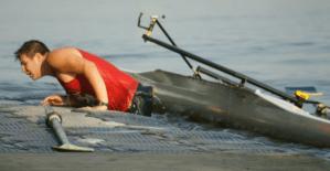 USC Rowing swim at dock