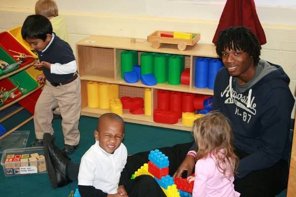 Cory helping in Beth Smoak's class at Black Street Early Childhood Center in Walterboro