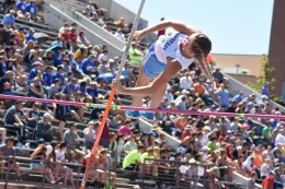 Sailor Jackson of the Southeast Lancers clears the bar during the 3A Girls Pole Vault competition on Friday (Medium)