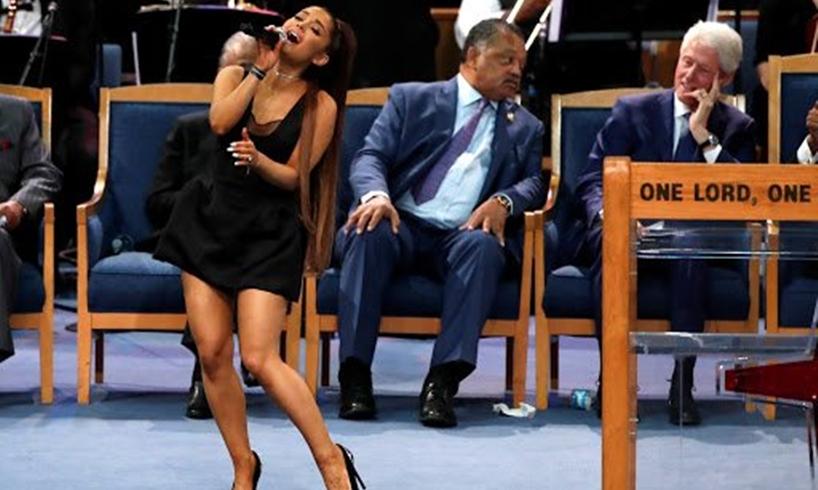 Ariana Grande Bill Clinton Aretha Franklin Funeral