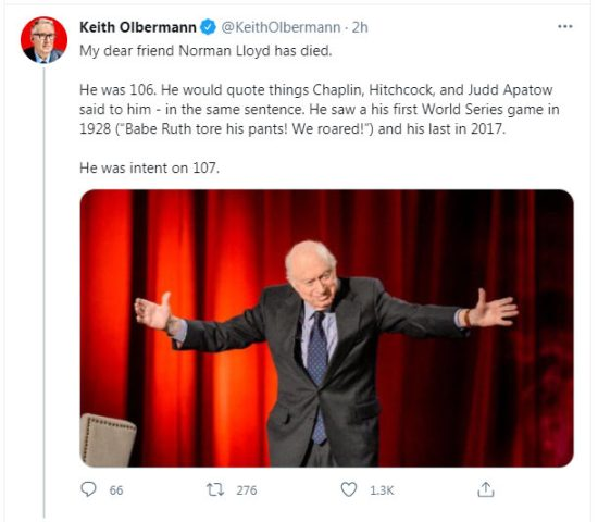 The actor Norman Lloyd's death news is confirmed