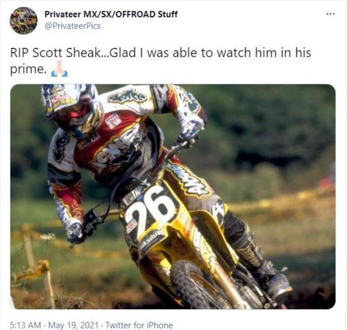 Former professional motocross racer Scott Sheak's cause of death has been revealed