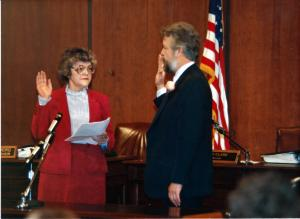 City Auditor Jewel Lansing swears in Portland Mayor Bud Clark.