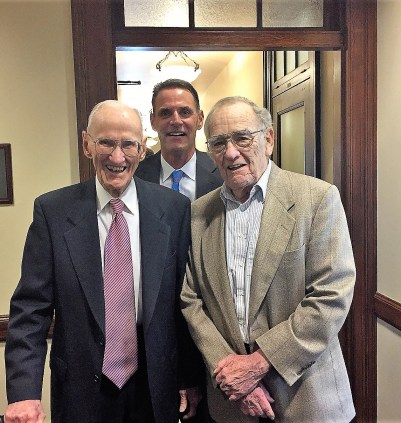 Senior Judges Owen Panner and James Redden enjoy the 100th anniversary of the Medford (James A. Redden) Courthouse in 2016 with U.S. Magistrate Judge Mark Clarke. Photo courtesy of Judge Clarke.