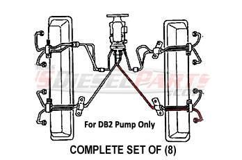 Complete Set of (8) Fuel Injection Lines 6.2L 6.5L Mechanical