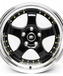 MST wheels MT07 Black Machined Lip Gold Rivets