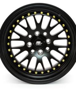 MST wheels MT10 Matte Black Gold Rivets
