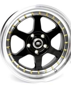 MST wheels MT35 Matte Black Gold Rivets