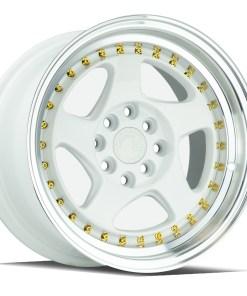 AH01 AH01 15X8 4X100/114.3 White Machined Lip Gold Rivets