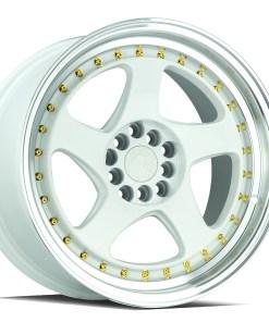 AH01 AH01 17X9 5X100/114.3 White Machined Lip Gold Rivets