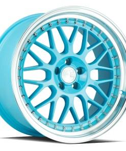 AH02 AH02 18X9.5 5X114.3 Tiffany Blue Machined Lip