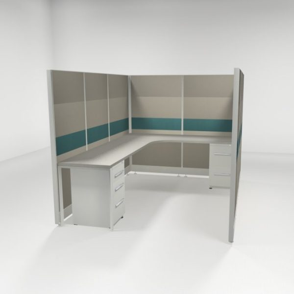 "6x8 67"" Tiled Cubicles with Two Files"