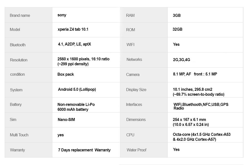 Sony Xperia Z4 Tab 10.1 With Box price in Pakistan, Sony