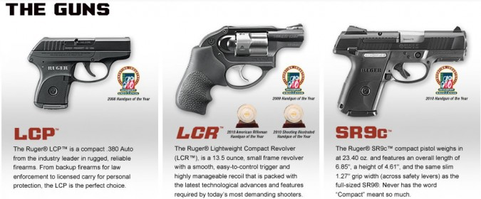 Ruger Pistols LCP LCR and SR9c