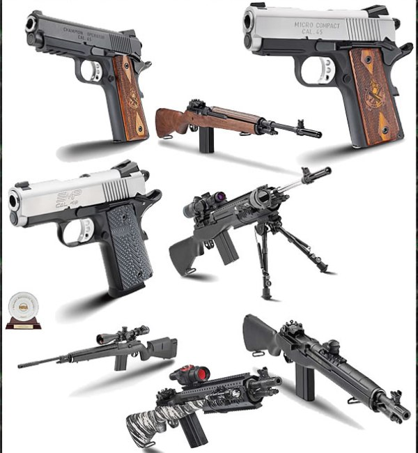 Springfield 1911s pistols and M1A rifles SOCOM