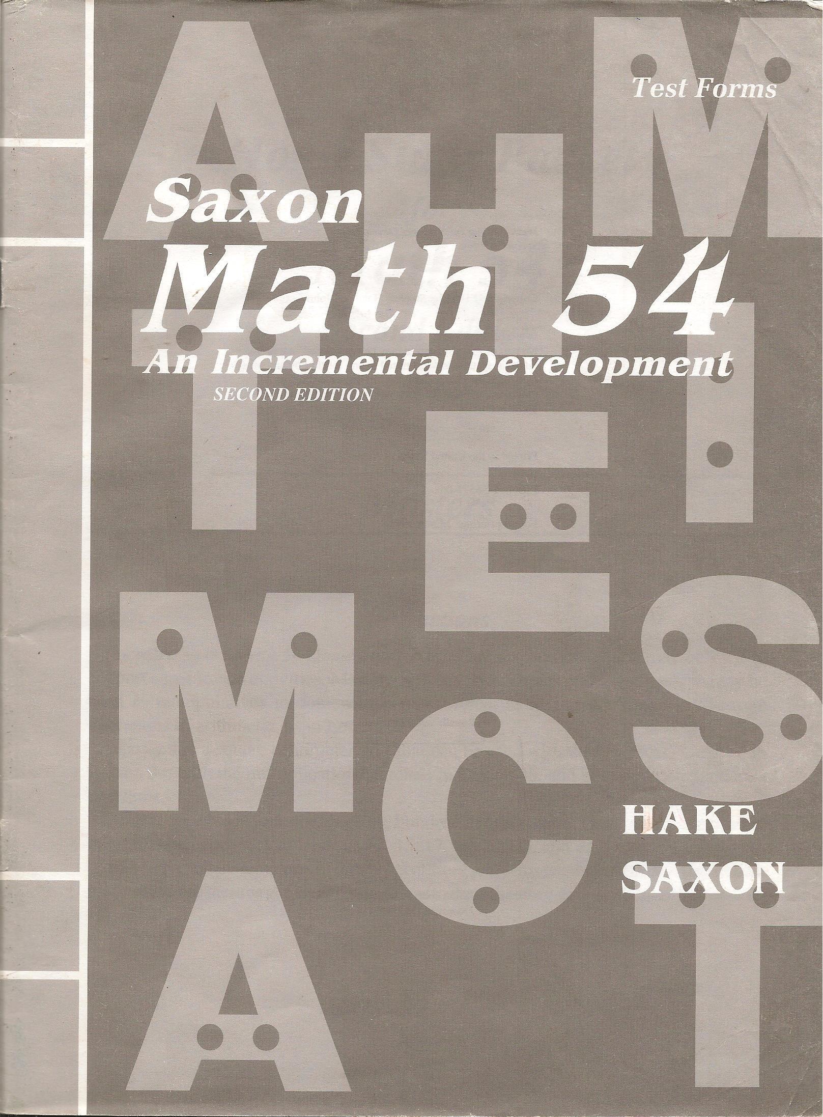 Saxon Math 54 Test Forms