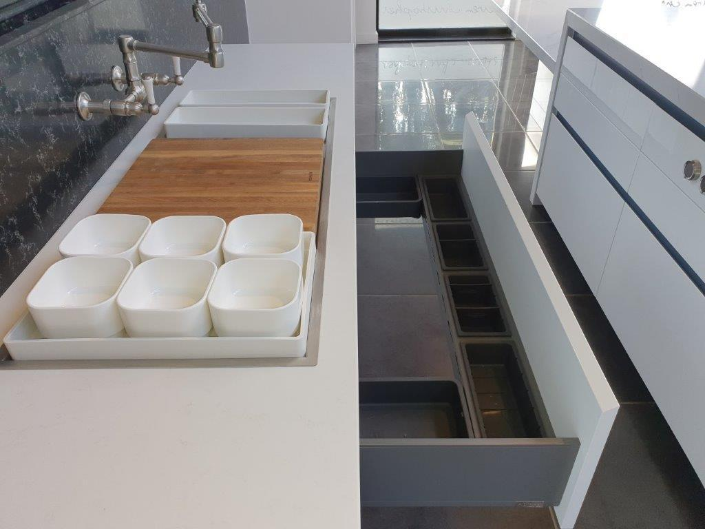Astor Atelier Kitchen Gloss White with BlueGrey Doors