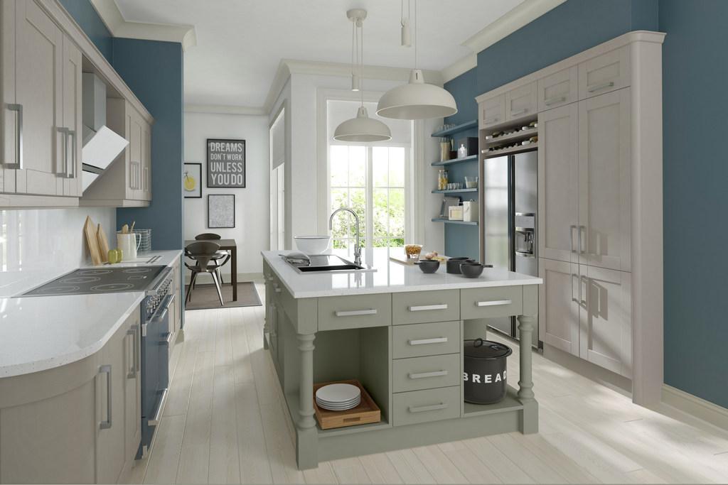 New Boxed Trend Shaker Sage Green Kitchen Appliances Worktops 3831129 Used Kitchen Hub