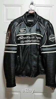 Large Harley Davidson Screamin Eagle Leather Jacket Thunder Valley Racing L