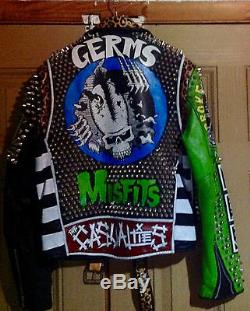 Leather Jacket Punk Painted Motorcycle Leather Jacket