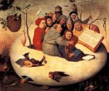 Concert in the Egg, from The Garden of Earthly Delights by Hieronymus Bosch This work is in the public domain in the United States, and those countries with a copyright term of life of the author plus 100 years or less.