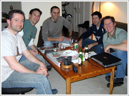Guests Tom and Brian enjoy some fine food & drink with the fellas.