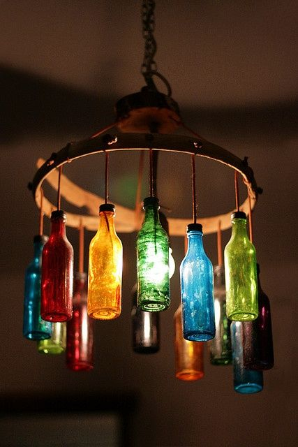 23 fascinating ways to reuse glass bottles into diy projects creatively 1 colorful glass bottles chandelier beautifying a room aloadofball Gallery