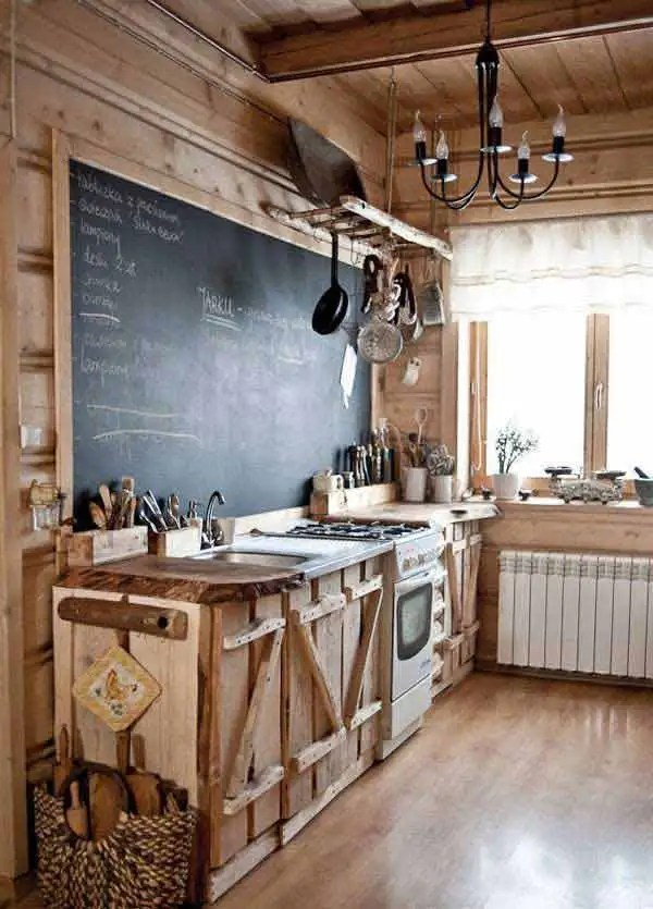 6 Rustic Kitchen With Chalkboard Backsplash