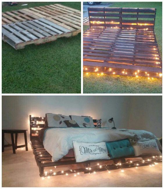 Simple Platform Pallet Bed With Lights Are Definitely Dreamy 21f11dea396e2b2ea6aa79c3420077e6