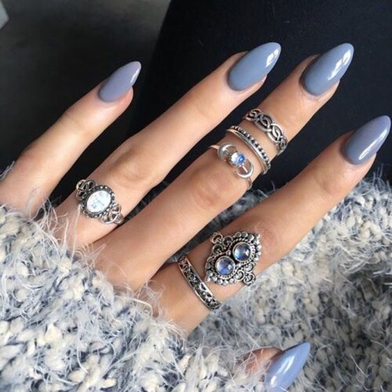 37 acrylic nail art designs youll want to try for upcoming parties 13 blue almond nails solutioingenieria Images