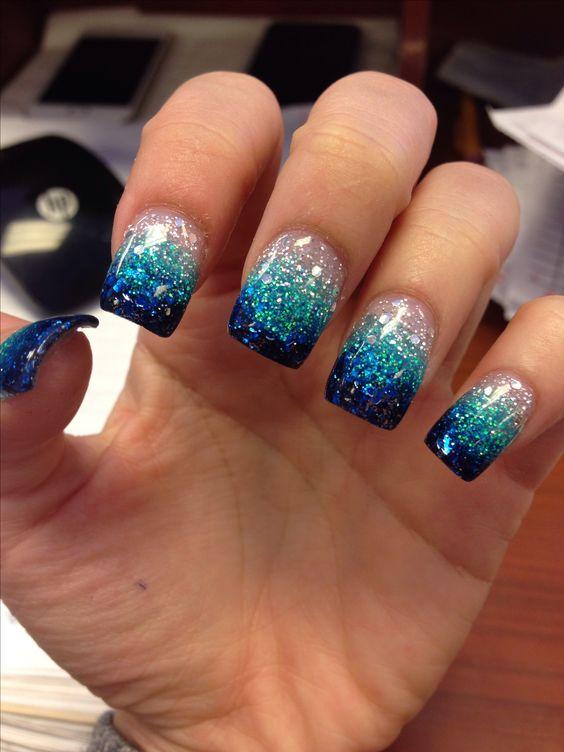 20 Blue Glitter Faded Acrylic Nails