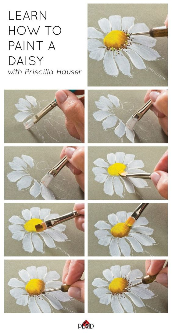 START CANVAS PAINTING BY LEARNING TO PAINT A DAISY Easy Canvas Paintings