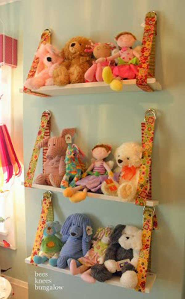 Simply use wooden boards and belts to form stuffed animal storage shelves & Top 40+ Stuffed Animal Storage Ideas To Consider - Useful DIY Projects