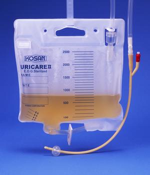病院のベッドで尿バッグがかかれているものの中に紫ウロバッグ症候群がよくみられます。