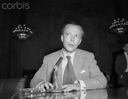 29 Jun 1955, Washington, DC, USA --- Original caption: Washington, D.C.: CBS News correspondent Winston Burdett testifies before the Senate Internal Security Subcommittee here today. Burdett admitted being a Communist from 1937 to 1942 and under questioning by Eastland, he said that he had engaged in espionage abroad for the Communists. --- Image by © Bettmann/CORBIS