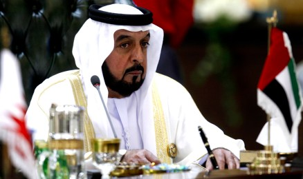 UAE president, Sheikh Khalifa bin Zayed al-Nahayan, attends the final session of the Gulf Cooperation Council (GCC) summit in Kuwait City on December 15, 2009. Energy-rich states of the Gulf do not feel threatened by Iraq's plans to massively expand its oil production, Kuwait's foreign minister said. The GCC alliance is made up of Bahrain, Kuwait, Oman, Qatar, Saudi Arabia and the United Arab Emirates. AFP PHOTO/YASSER AL-ZAYYAT (Photo credit should read YASSER AL-ZAYYAT/AFP/Getty Images)