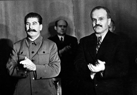 Soviet leader Josef Stalin with Vyacheslav Mikhailovich Molotov who was Foreign Minister (Photo by Popperfoto/Getty Images)