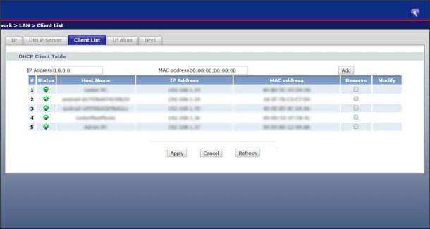 Clients List in PLDT ZyXEL Modem