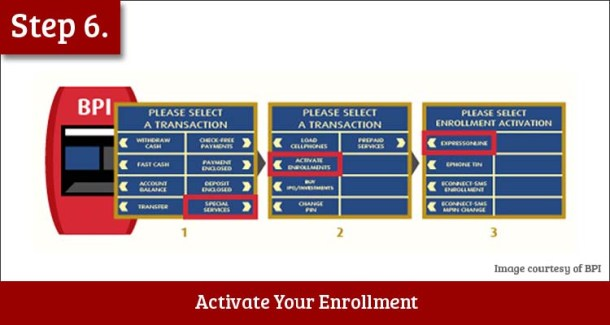 Step 6 Go to the Nearest BPI ATM and Activate Your Enrollment