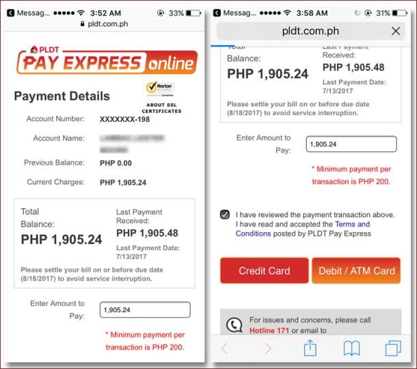 Mobile PLDT Pay Express Online