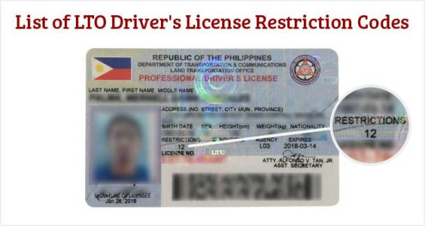 list of lto driver's license restriction codes - useful wall